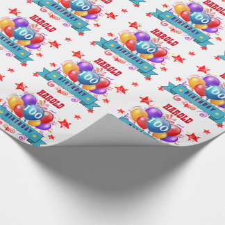 100th Birthday Festive Balloons and Red Stars 20D Wrapping Paper