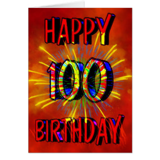 100th Birthday Fireworks Card