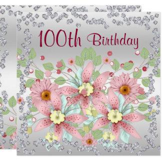 100th Birthday Floral Display & Diamonds Card