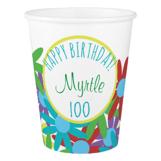 100th Birthday Floral Personalized Paper Cup