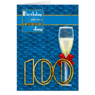 100th Birthday - Geometric Birthday Card Champagne
