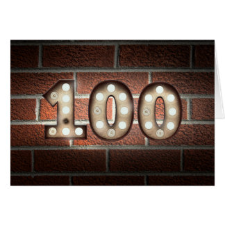 100th birthday-glowing marquee lighting on wall card