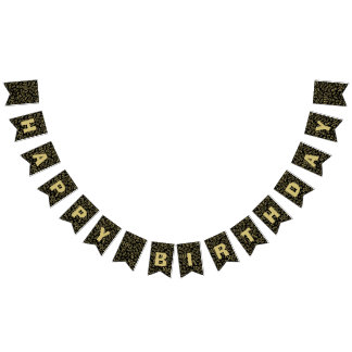 100th Birthday Happy Birthday Bold Gold And Black Bunting Flags