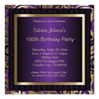 100th Birthday in a Deep Purple & Gold Pattern Card