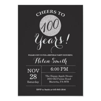 100th Birthday Invitation Black and Silver Glitter