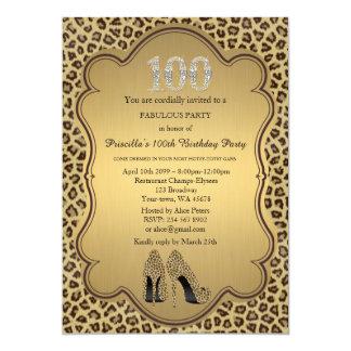 "100th Birthday invitation,numbers diamonds,Cheetah 5"" X 7"" Invitation Card"