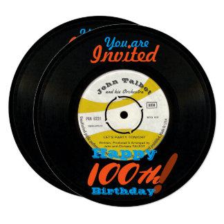 100th Birthday Invite Retro Vinyl Record 45 RPM