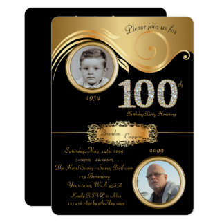 100th,Birthday Man 100th,elegant art deco,black Card