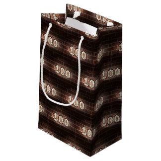 100th birthday-marque lights on brick small gift bag