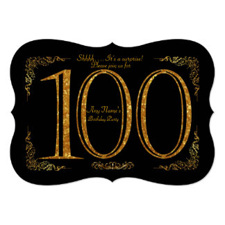 100th, Birthday party 100th, Gatsby, black & gold Card