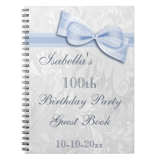 100th Birthday Party Damask and Bow Spiral Notebook