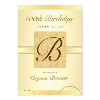 "100th Birthday Party Gold Damask Monogram 5"" X 7"" Invitation Card"