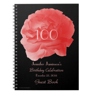 100th Birthday Party Guest Book, Coral Rose Petals Spiral Notebook