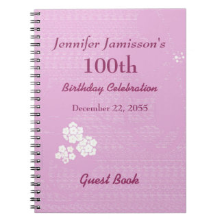 100th Birthday Party Guest Book Pink, White Floral