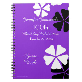 100th Birthday Party Guest Book Purple Floral Notebook