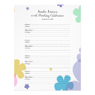 100th Birthday Party Guest Book Sign-In Page Customized Letterhead