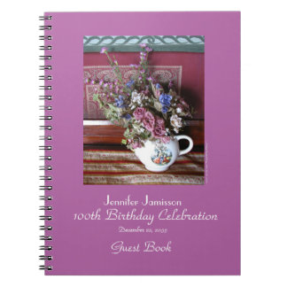 100th Birthday Party Guest Book, Vintage Teapot Notebook