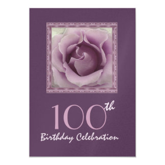 100th Birthday Party Invitation DREAMY PURPLE Rose