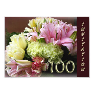 100th Birthday Party Invitation - Flower Bouquet