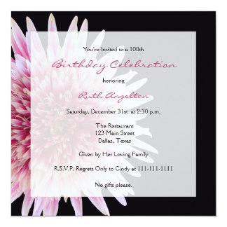 100th Birthday Party Invitation Gerbera Daisy