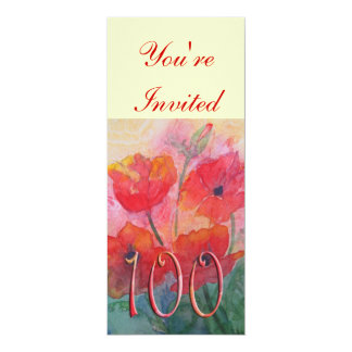 100th Birthday Party Invitation - Poppies
