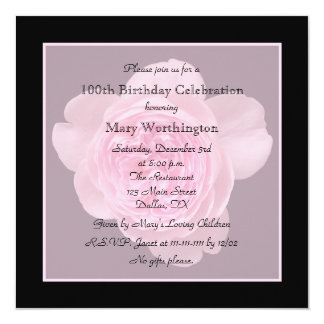 100th Birthday Party Invitation - Rose for 100th