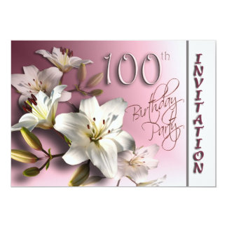 100th Birthday Party Invitation - white Lilies