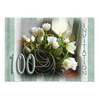 100th Birthday Party Invitation - White Tulips