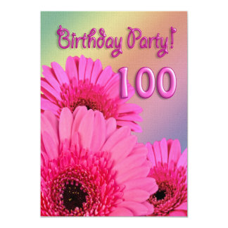 100th Birthday party invitation with pink flowers