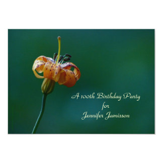 100th Birthday Party Invitation, Yellow Lily Card