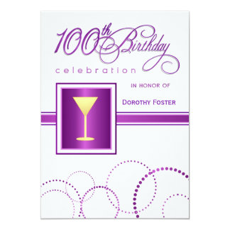 100th Birthday Party Invitations - with Monogram