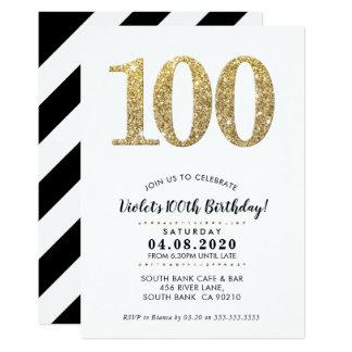 100TH BIRTHDAY PARTY INVITE modern gold glitter