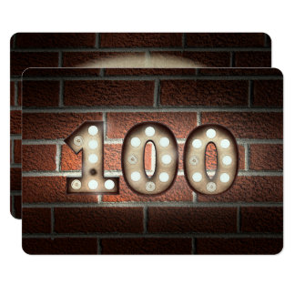 100th Birthday Party-marquee lights on brick Card