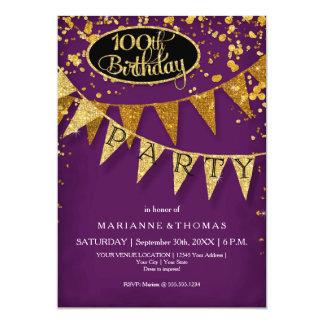"100th Birthday Party Pennant Banner Confetti 5"" X 7"" Invitation Card"