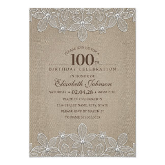 100th Birthday Party Rustic Burlap Pearls and Lace Card