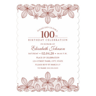100th Birthday Party Rustic Lace Kraft Paper Card