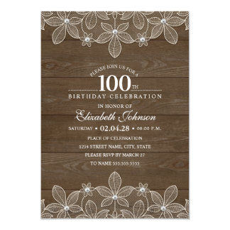 100th birthday party Rustic Wood Unique Lace Card
