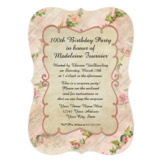 100th Birthday Party Scroll Frame w Vintage Roses Card