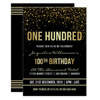100th Birthday Party | Shimmering Gold Confetti Card