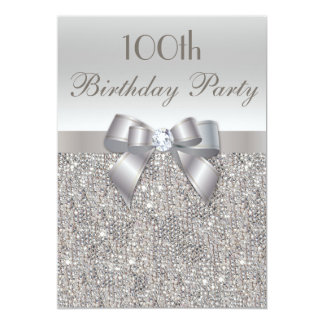 100th Birthday Party Silver Sequins, Bow & Diamond Card