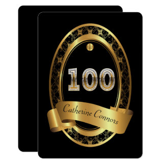 100th,birthday party woman man,elegant black card