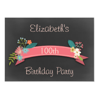 100th Birthday Pink Banner Flowers Chalkboard Card
