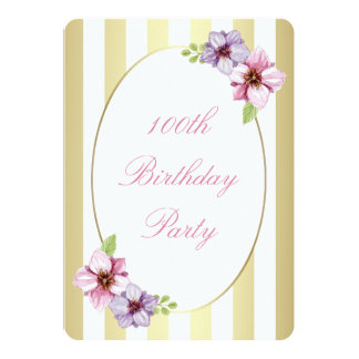 "100th Birthday Pink Lilac Floral White Gold Stripe 5"" X 7"" Invitation Card"