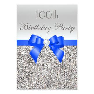 100th Birthday Silver Sequin Royal Bow Diamond 5x7 Paper Invitation Card