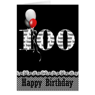 100th Birthday with balloon bouquet on black Card