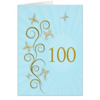 100th Birthday with golden butterflies Card