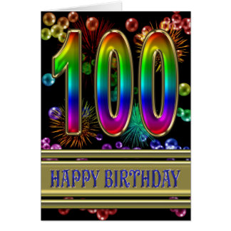 100th Birthday with rainbow bubbles and fireworks Card