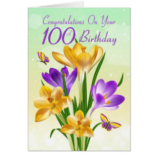100th Birthday Yellow And Purple Crocus Card