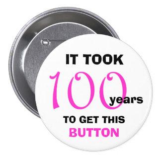 100th Bouton de cadeaux de bâillon d'anniversaire Macaron Rond 7,6 Cm