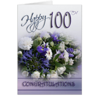 100th carte florale de félicitations